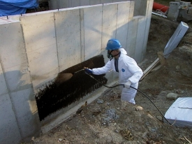 Application Of J Cote Waterproofing To A Foundation